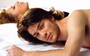 Picture look, girl, love, romance, bed, guy, lovers, woman, man, passion, feeling