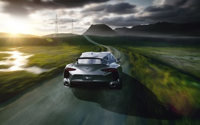 Picture Concept, Toyota, Car, Speed, Sun, Road, Automotive, Rear, FT-1