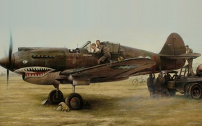 """Picture figure, art, repair, the airfield, WW2, briefing, Curtiss P-40, American fighter, Curtiss P-40 """"Tomahawk"""", staff"""