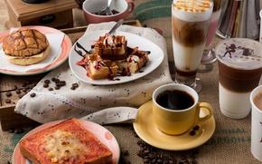 Wallpaper berries, latte, sandwiches, coffee, waffles