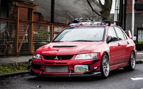 Wallpaper Lights, Red, Mitsubishi, Lancer, Evolution 9, Red, Lancer, Mitsubishi, Evolution 9, Wheels, Tuning, JDM