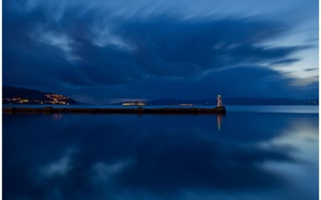 Picture reflection, island, blue, lighting, shore, night, Norway, lighthouse, the sky, river, clouds