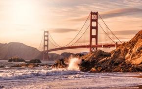 Picture wave, beach, squirt, bridge, the city, stones, rocks, shore, Golden gate, USA, San Francisco
