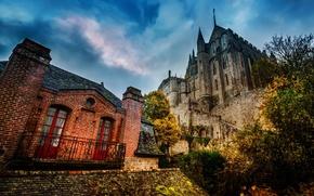 Picture hdr, Mont-Saint-Michel, the sky, France, Normandy, clouds, castle
