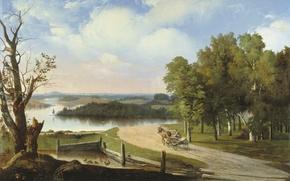 Wallpaper Goravsky Apollinaris Gilerovich, Landscape with river and road, cart