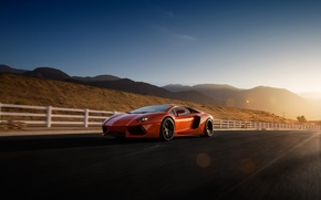 Picture Lamborghini, Orange, Sky, Front, Sun, LP700-4, Aventador, Road, Supercar, Wheels
