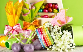 Wallpaper flowers, tape, holiday, chocolate, eggs, spring, candy, Easter, Easter, Easter