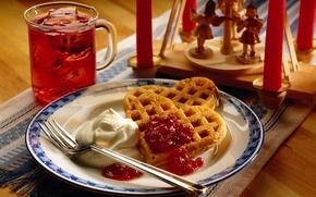 Picture table, tea, heart, food, cookies, plate, drink, plug, heart, cream, waffles, sweet, jam