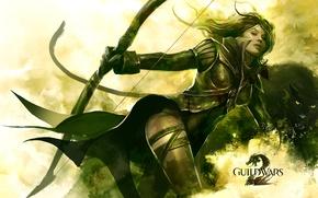Wallpaper girl, Panther, warrior, bow, Guild Wars 2, Archer, string, Ranger