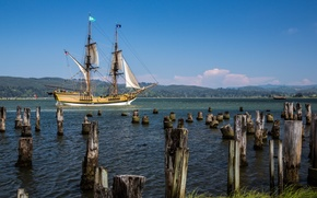 Picture shore, sailboat, Bay, piles