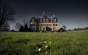 Picture grass, flowers, house, France, storm, gray clouds, Nogent Le Roi