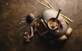 Wallpaper root, sticks, bamboo, petals, pistil, mortar