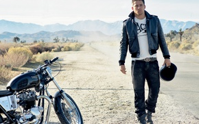 Picture road, mountains, jacket, motorcycle, male, Channing Tatum, Channing Tatum