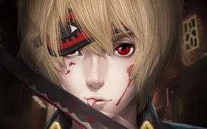 Picture drops, blood, sword, headband, guy, red eyes, Gintama, Okita Sougo