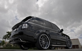 Picture the sky, trees, clouds, black, tuning, wheels, drives, black, range rover, tuning, land Rover, Rover, …