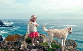 Wallpaper girl, sea, dog, landscape