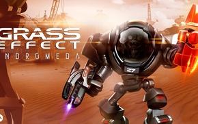 Picture space, zombie, gun, robot, undead, mecha, desert, eyes, Mass Effect, sand, hero, rifle, iron, suit, …