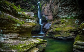 Picture rock, stones, waterfall, moss, USA, Ricketts Glen State Park
