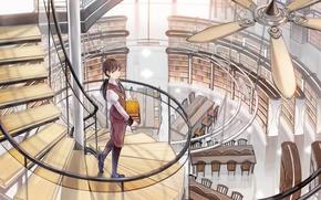 Picture girl, books, fan, art, ladder, library, shimetta oshime, screw