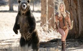 Picture fantasy, girls, bear, bow, Archer, Shyla stylez