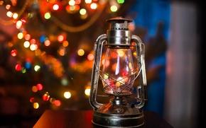 Picture lamp, tree, lights, bokeh