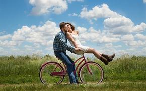 Wallpaper greens, field, summer, the sky, grass, girl, the sun, clouds, bike, mood, kiss, jeans, boots, ...