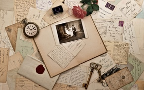 Picture watch, rose, old, photos, keys, vintage, vintage, the envelope, letters, cards