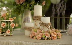 Picture flowers, tenderness, roses, bouquet, candles, decor