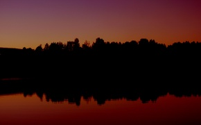 Picture forest, sunset, lake, forest, sunset, lake