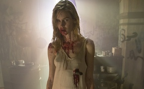 Wallpaper zombie, blood, graffiti, dead, blonde, knife, The Walking Dead, oppai, TWD, AMC, TV series, dagger, ...