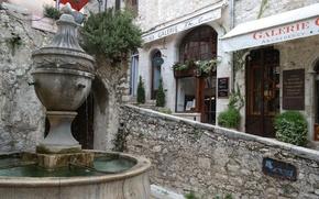 Picture France, gallery, fountain, street, Cote d'azur, Saint-Paul-de-Vence