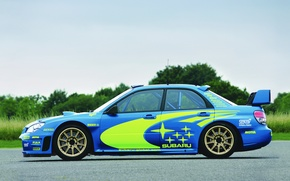 Picture Auto, Blue, Subaru, Impreza, Wheel, Machine, wrx, WRC, Rally, Side view, Original