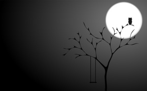 Picture night, background, tree, owl, the moon, black, minimalism, The full moon