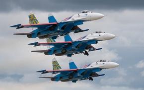 Wallpaper fighters, fighter-interceptor, Su-27P, Russian Knights, Sukhoy Su-27