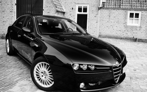 Picture black, Alfa Romeo, Italian, on the pavement