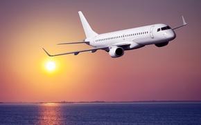 Picture sea, the sky, the sun, flight, the plane, dawn, coast, passenger, airliner