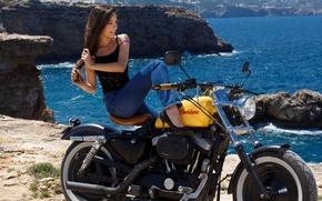 Picture sea, girl, mountains, nature, model, motorcycle, Lorena Garcia