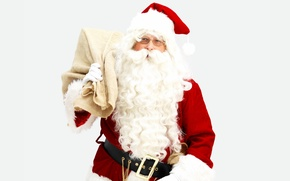 Picture red, holiday, new year, glasses, costume, gifts, white background, beard, Santa Claus, bag, Santa Claus, …