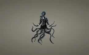 Picture octopus, tentacles, gas mask, octopus, dark background