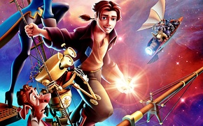 Picture space, ship, stars, pirates, Disney, adventure, Treasure planet, John Silver, Treasure planet, Jim Hawkins