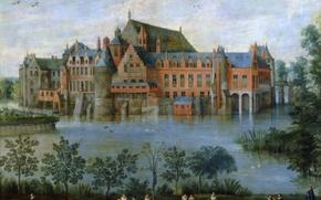 Picture trees, landscape, pond, people, castle, picture, Jan Brueghel