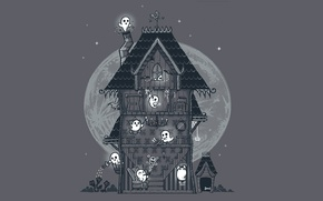 Wallpaper the moon, bring, ghosts, Halloween, house