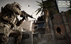 Picture battle, soldiers, the ruins, rifle, MoH, warfighter