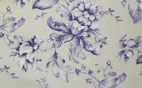 Picture flowers, blue, design, style, pattern, petals, Bud, fabric, textiles, list