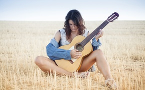 Picture girl, nature, music, guitar