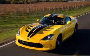 Picture road, yellow, strip, speed, black, Dodge Viper, yellow, GTS, SRT