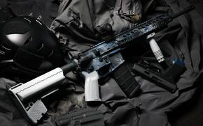 Wallpaper gun, assault rifle, helmet, AR 15, style, weapons