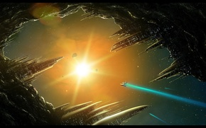 Wallpaper the sun, station, asteroid, space, ship