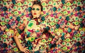 Wallpaper model, girl, photoshop, makeup, flowers, style