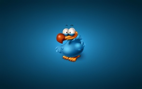 Picture bird, minimalism, blue background, Titto The Dodo